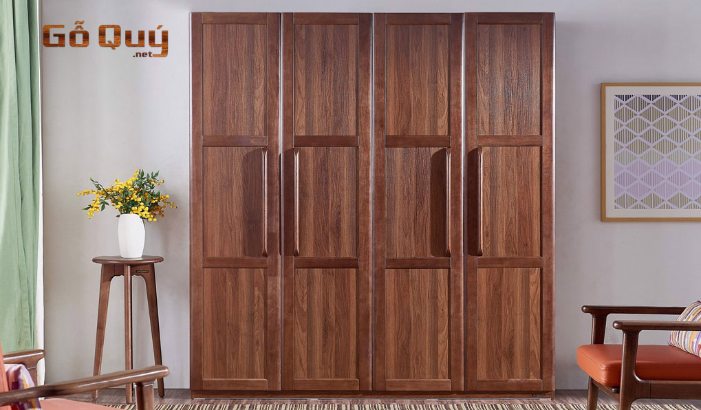 Các mẫu tủ đồ 4 buồng bằng gỗ tự nhiên