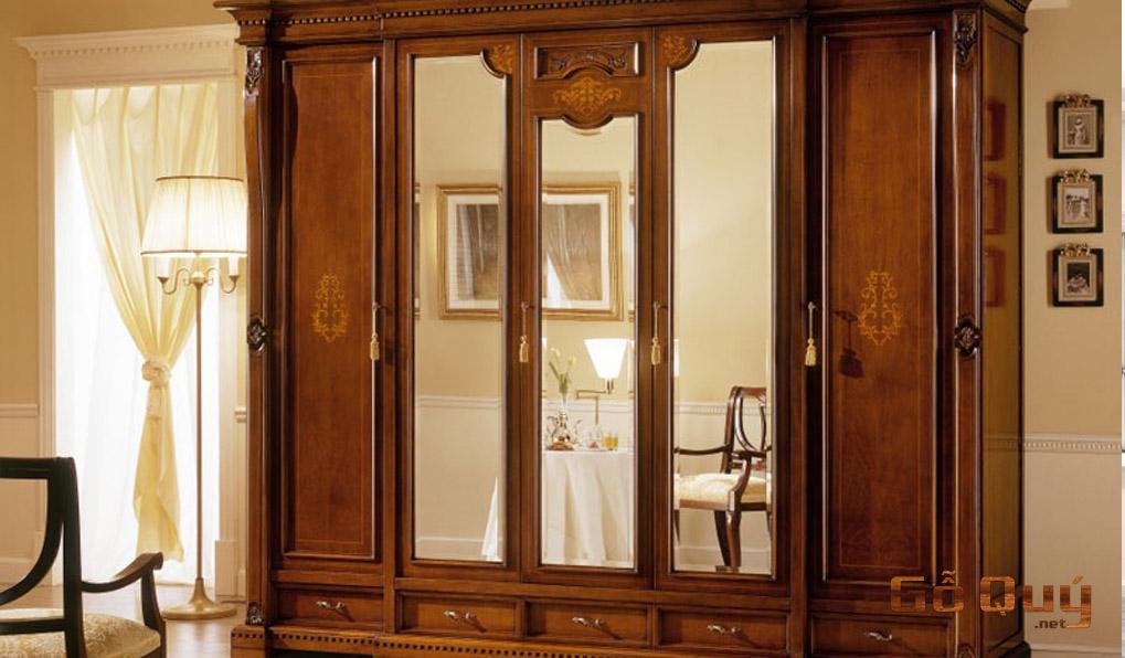 Tủ đồ gỗ cao cấp 5 cánh kèm gương