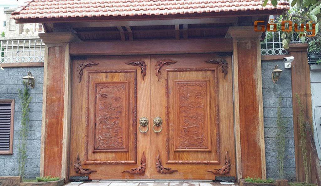 cổng nhà gỗ biệt thự truyền thống